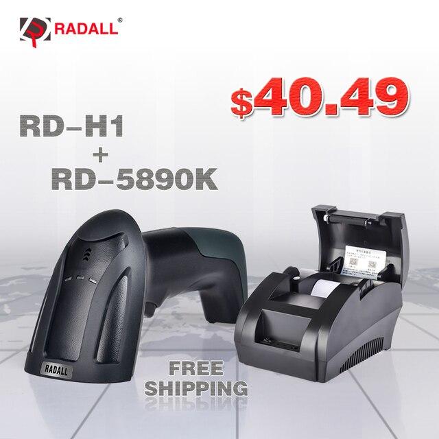 RD-5890K 58mm USB Máy In Nhiệt Tốc Độ Cao In Ấn Tương Thích ESC/POS In Lệnh Đặt RD-H2 1D Bằng Laser Có Dây máy Quét mã vạch