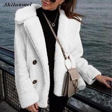 Moda de lana de chaqueta de piel de abrigo de invierno de las mujeres  bolsillos grueso Teddy abrigo mujer rosa blanco de peluche. 08b6eeaa1567