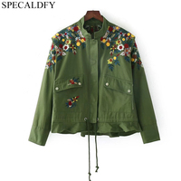 Bohemian Floral Embroidery Army Green Jacket Women Basic Coats 2018 Spring Autumn Streetwear Black Coat Outwear Casaco Feminino