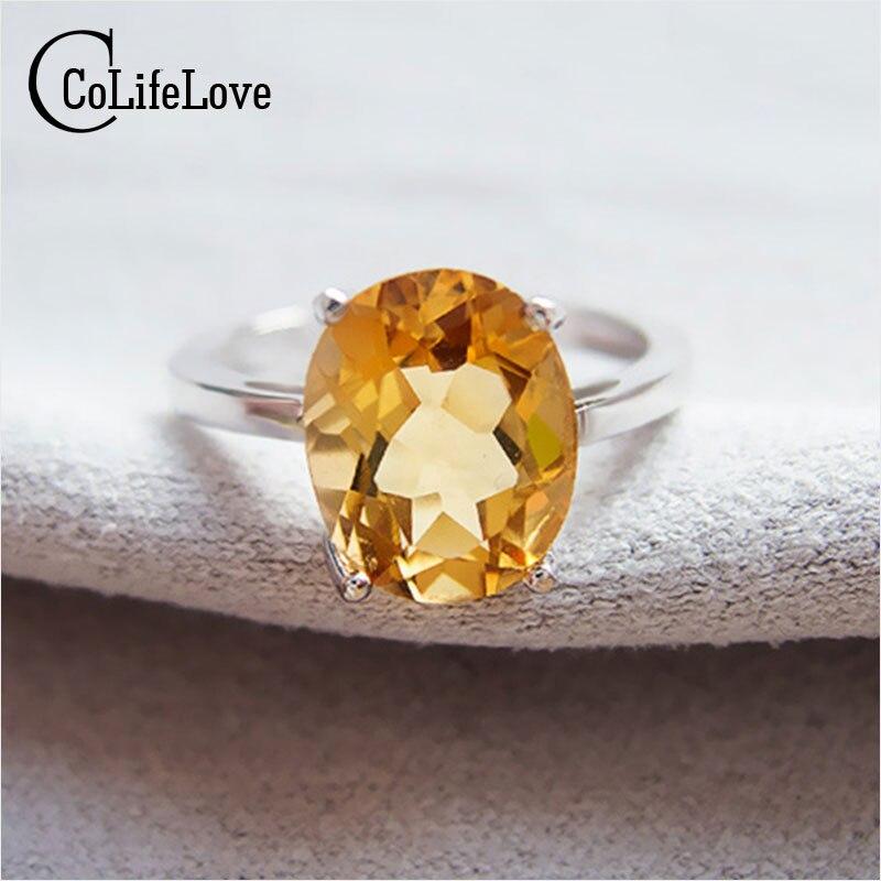 купить Classic yellow crystal ring 7mm*9mm natural citrine silver ring solid 925 silver gemstone ring yellow gemstone ring for lady по цене 1937.25 рублей