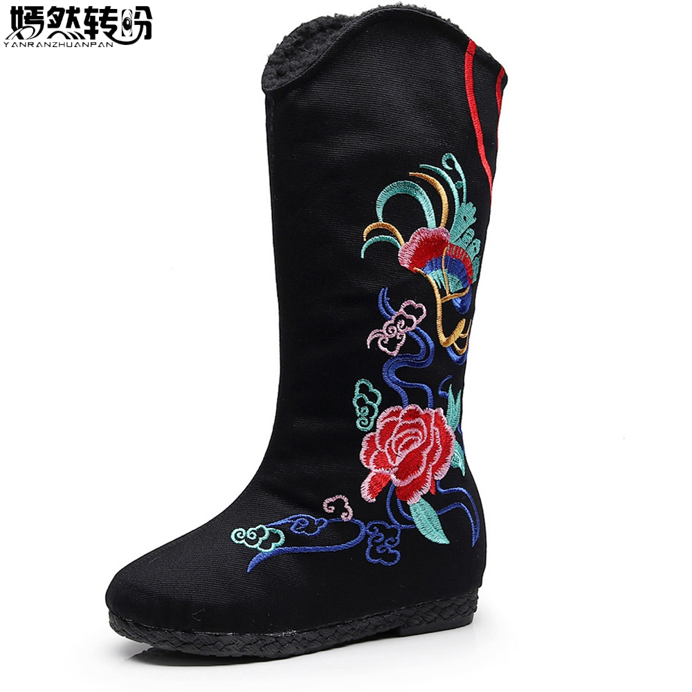 Chinese Winter New Women Boots Floral Embroidery Old Beijing Canvas Warm Shoes Woman Cloth High Single Booties Black Botas Mujer women flats old beijing floral peacock embroidery chinese national canvas soft dance ballet shoes for woman zapatos de mujer