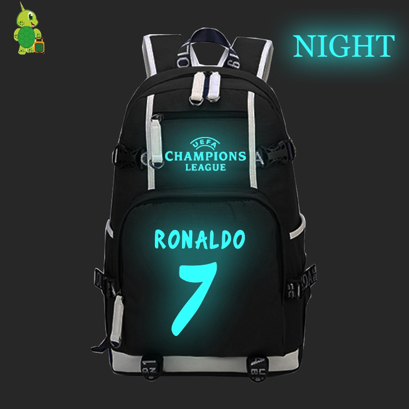Famous Star Cristiano Ronal 7 Luminous Backpack Cr7 School Bags For Teens Men Women Travel Shoulder Bag Daily Laptop Backpack