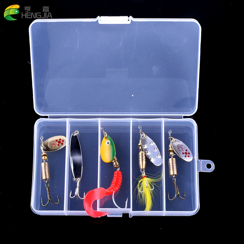 HENGJIA 5pcs in one box Mixed Fishing Lures Set Kit Metal Lures for Trout Perch Bass Fishing Spoons Hard Baits spinner bait cookery postcards 100 cookbook covers in one box