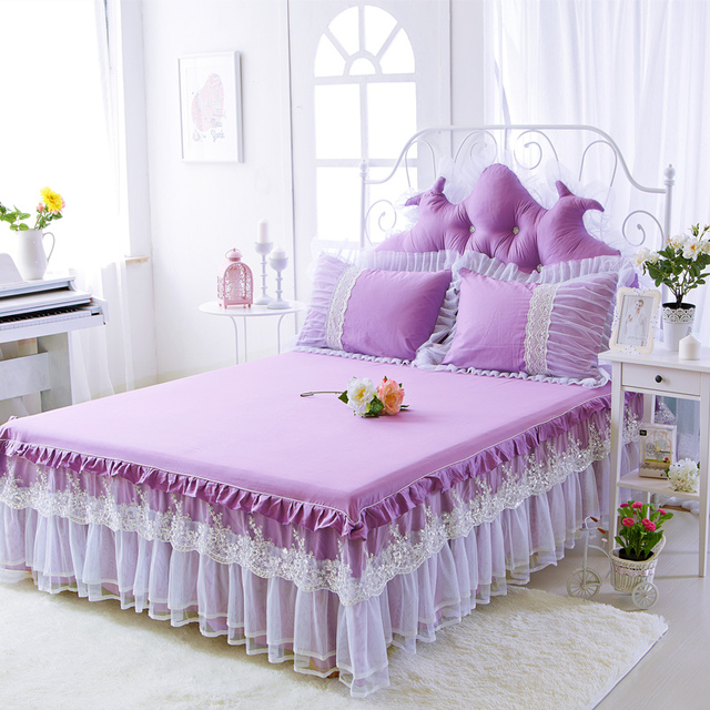 3Pcs Princess purple Pink Bed skirt King Queen Full twin size For     3Pcs Princess purple Pink Bed skirt King Queen Full twin size For Kids  Adults Girls Room