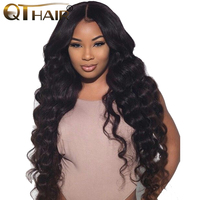 Lace Front Human Hair Wigs Pre Plucked Brazilian Loose Deep Wave Wigs With Baby Hair For Women Remy QT Hair Extensions