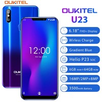 OUKITEL U23 6.18 Notch Display Android 8.1 Mobile Phone MTK6763T Helio P23 Octa Core 6G 64G Wireless Charge Face ID Smartphone