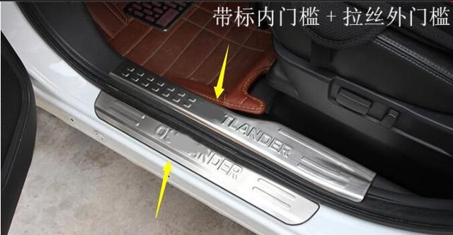 Mitsubishi Outlander 2013- 2018 en acier inoxydable   Pédale de porte bande de seuil, cadre de plaque, couvercle externe seuil 4 pièces