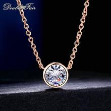 dafa2cb440ff Collares y colgantes de circonita cúbica de estilo Simple de Color oro rosa  joyería de moda para mujeres accesorios de cadena DF.