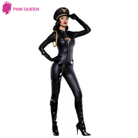 Halloween Queen Cosplay Party Halloween Costume Ladies Uniforms Temptation Police Black Leather Motorcycle Uniforms