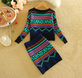 2016 autumn winter woman geometric knitted clothing set europen style women knitting jumpers+ skirt clothes suit woman's outwear