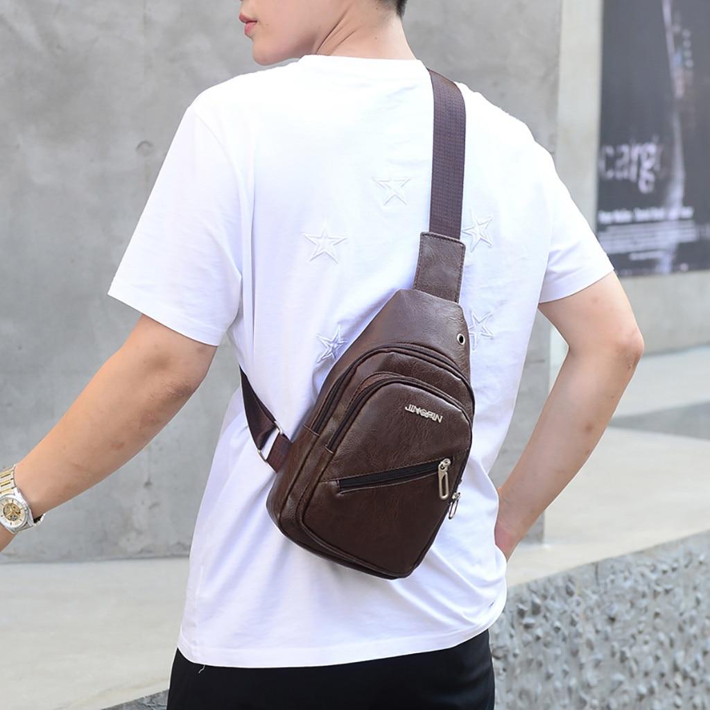 2019 Fashion Men Casual Sports Shoulder Bag Solid Color Messenger Bag Pocket Crossbody Chest Purse Bags