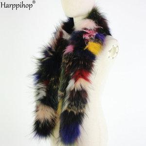 Image 5 - 2019 Phụ Nữ Mới Chính Hãng dệt kim Cáo Khoác Nỉ Thật Cổ Lông Mùa Đông Ấm Cổ Ấm bạc Fox màu hỗn hợp khăn 130 cm