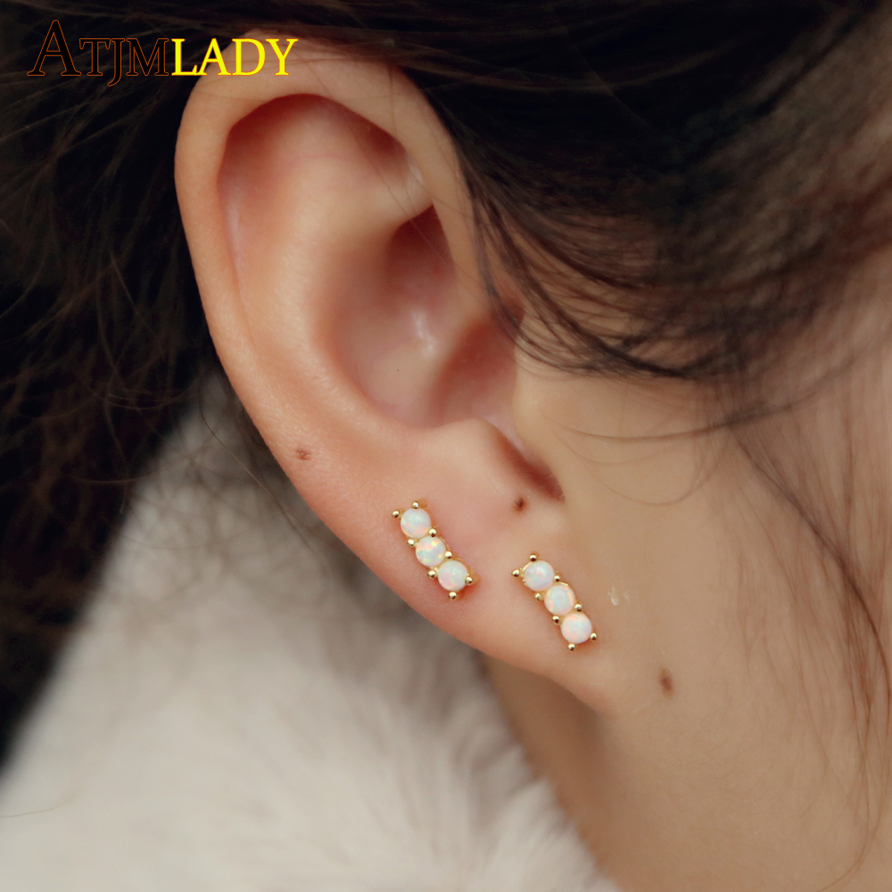 2019 drop shipping delicate tiny bar 925 Sterling Sliver Fashion Jewelry three opal tiny Cubic Zirconia Stud Earrings for Women