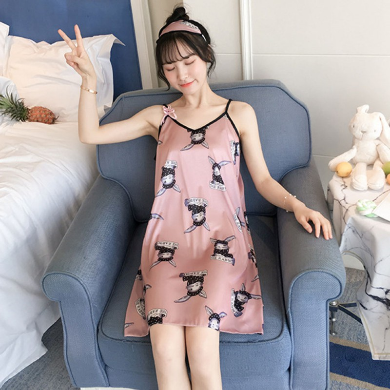 Women Nightgown <font><b>Sexy</b></font> Sling Sleep <font><b>Dress</b></font> Sleeveless Loose Nightdress <font><b>Girls</b></font> Lovely <font><b>Night</b></font> <font><b>Dress</b></font> 2019 Summer image