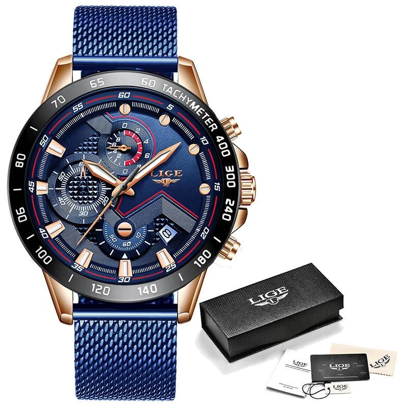 LIGE Fashion Mens Watches Top Brand Luxury WristWatch Quartz Clock Blue Watch Men Waterproof Sport Chronograph Relogio Masculino 8