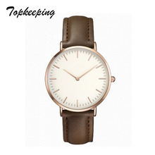 Topkeeping Merek Fashion Wanita Jam Tangan Tipis Kasual Ladies Simple Luxury Quartz Jam Tangan PU Kulit Strap Girls Dress Watches
