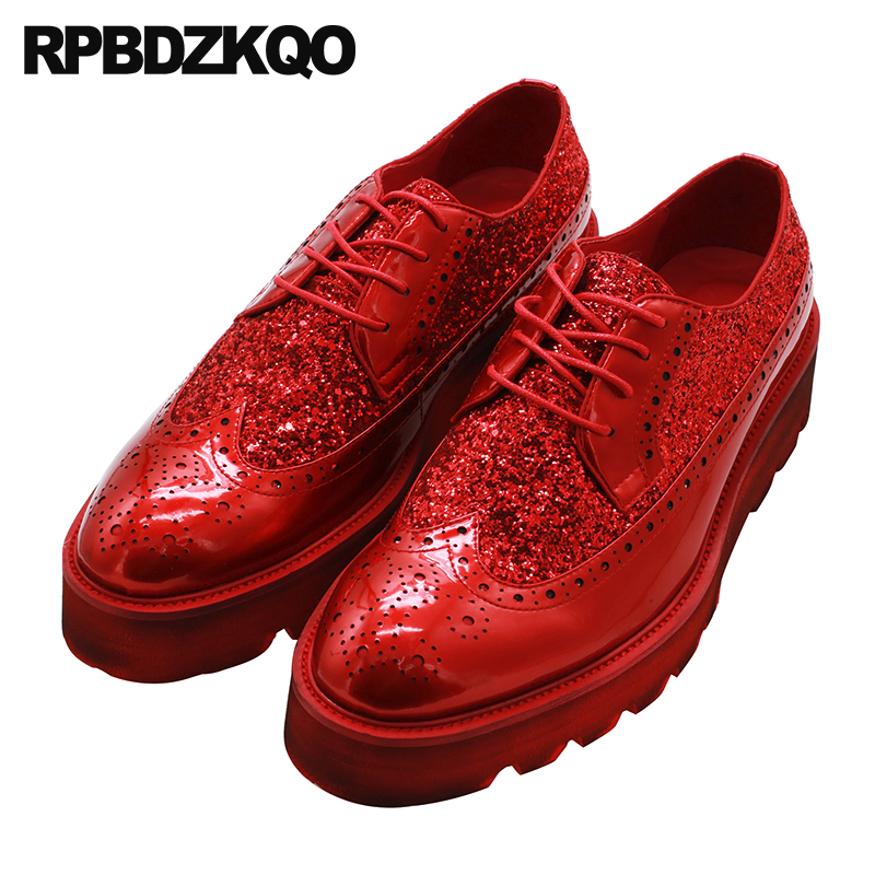 Detail Feedback Questions about Prom Creepers Designer Shoes Men Luxury  2018 Platform Sequin Wingtip Glitter Wedges Brogue Spring Black Red Oxfords  Real ... 616888dc5e9f