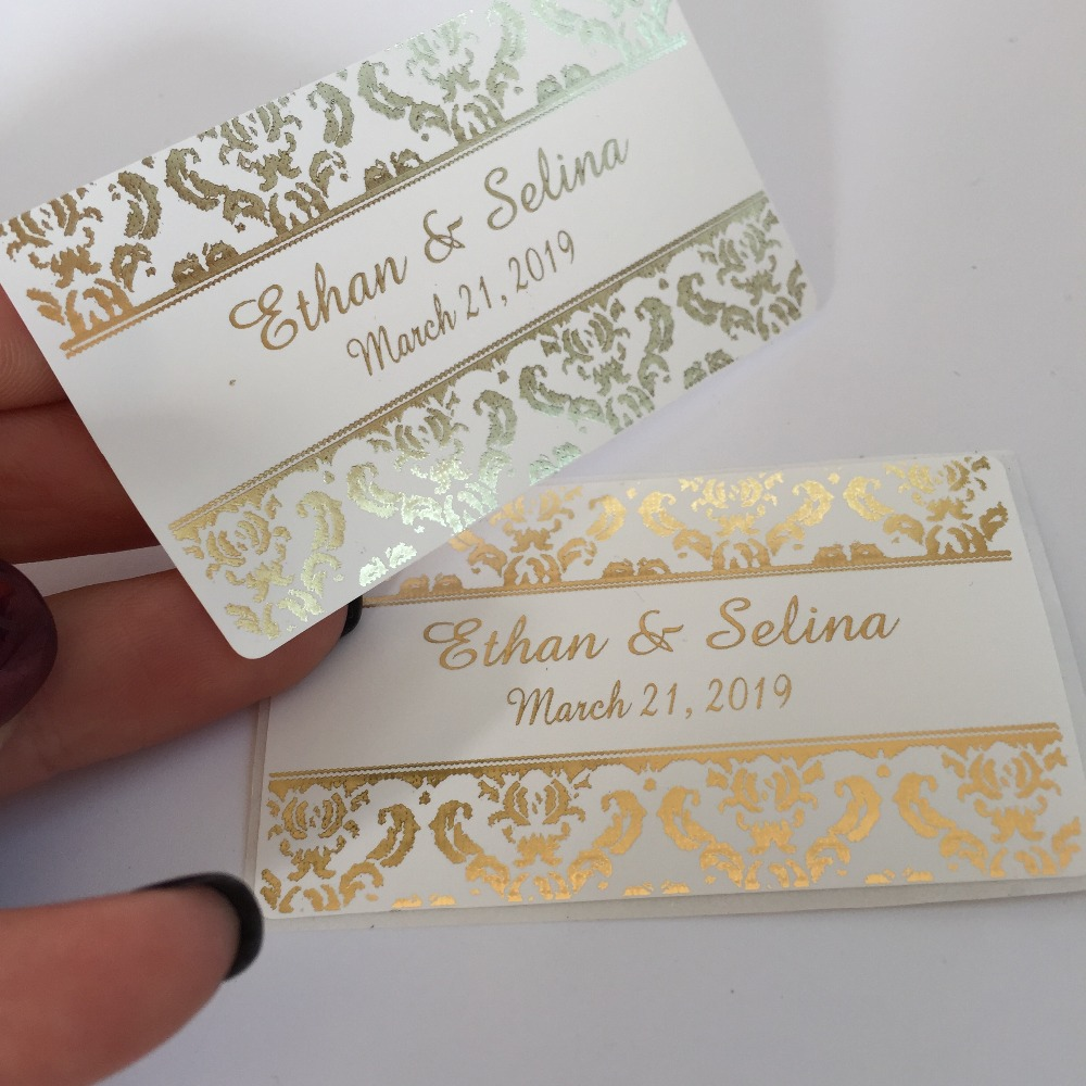 Us 11 99 60 personalized wedding return address labels baby shower birth foil gold glossy rectangular stickers thank you favor bag tags in gift bags