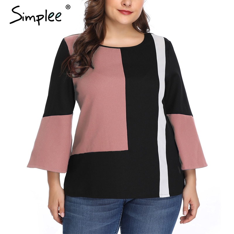 Simplee Office lady plus size women   blouse     shirt   Flare sleeve patchwork   shirt   top Female casual streetwear loose blusa tops 2019
