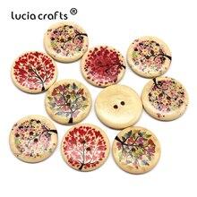 Lucia crafts 10 шт./лот 30 мм с 2 отверстиями Круглый с деревянными пуговицами, с рисунком дерева, скрапбукинг пуговиц для шитья DIY аксессуары для одежды E0113