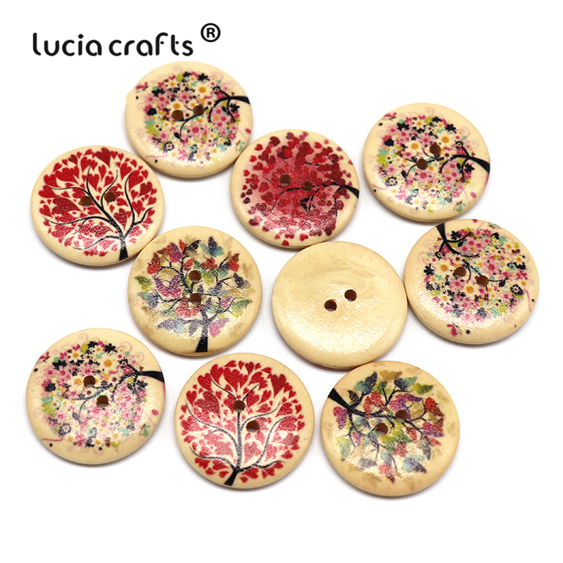 Lucia crafts 10pcs/lot <font><b>30mm</b></font> 2-Holes Round Wood <font><b>Button</b></font> Tree Pattern Scrapbooking Sewing <font><b>Buttons</b></font> DIY Garment Accessories E0113 image