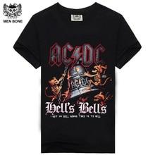 [Men bone] AC DC Heavy metal Bell Skull Men t-shirts Chain acdc summer style t-shirt cotton 100% for men t shirtfree shipping