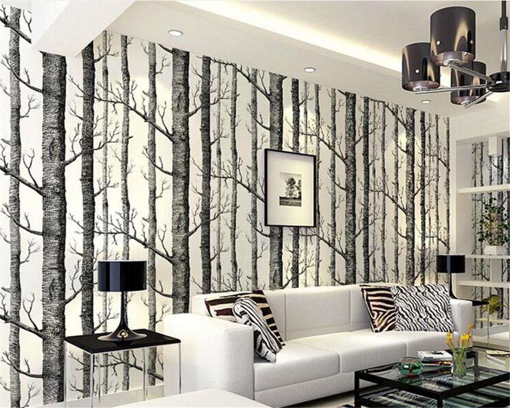 Us 3324 39 Offbeibehang Papel De Parede Interior Abstrak Wallpaper Hitam Dan Putih Pohon Nonwoven Canggih Backdrop Putih Birch Hutan Tapety In