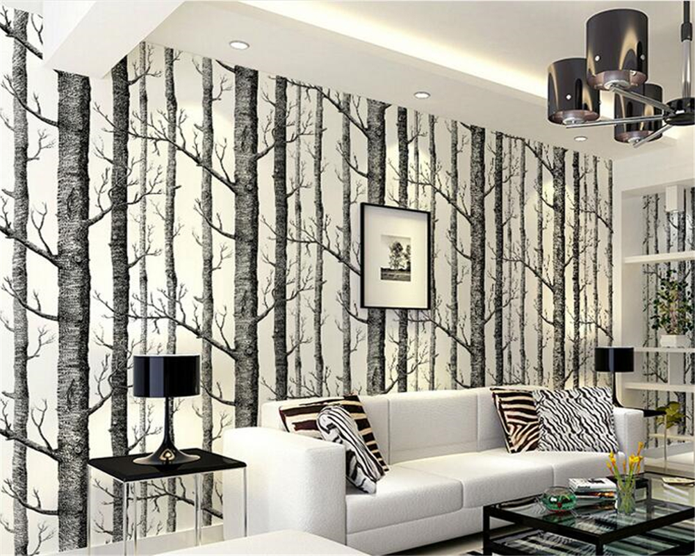 beibehang papel de parede Interior Abstract Wallpaper Black and White Trees Nonwovens Advanced Backdrop White Birch Woods tapety
