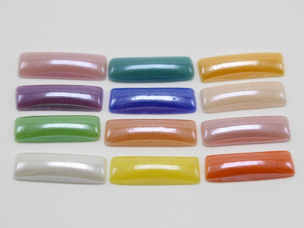 200 смешанных Цвет luater AB прямоугольник Flatback Стекло кабошон Керамика половина Жемчуга 5×15 мм