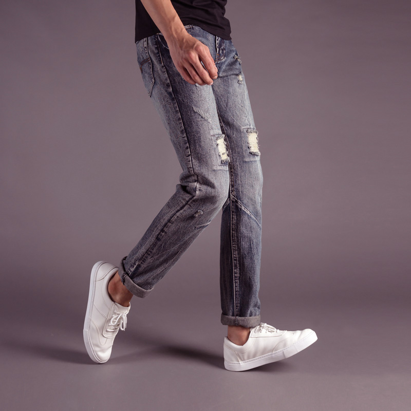 2018 Newly Fashion Men Jeans Dark Gray Color Destroyed Ripped Jeans Homme 100% Cotton Straight Fit DSEL Brand Jeans Men Pants