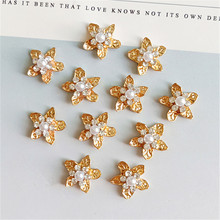 купить 10 pcs/lot Alloy Alloy Gold Pearls Rhinestone Buttons Ornaments Earrings Choker Hair Bow DIY Jewelry Accessories Handmade дешево