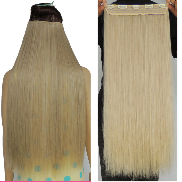28 Inch Mega Hair Extensions Straight Medium Blonde Synthetic Weave