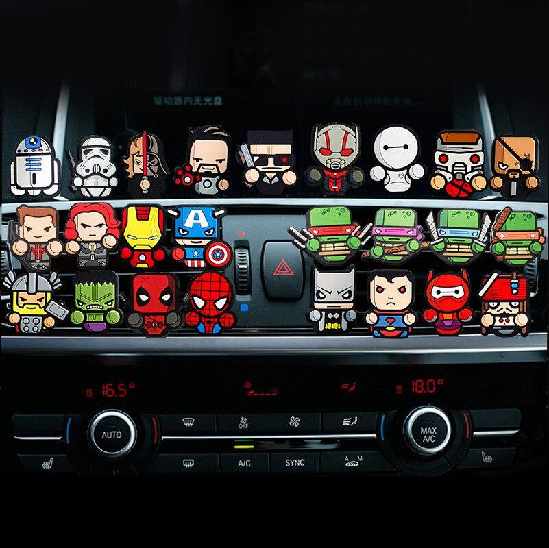 Set of 4pcs 7pcs 5pcs For Avengers Star War Car outlet perfume auto Air Freshener fragrances Conditioning Vent Clip Cute Cartoon