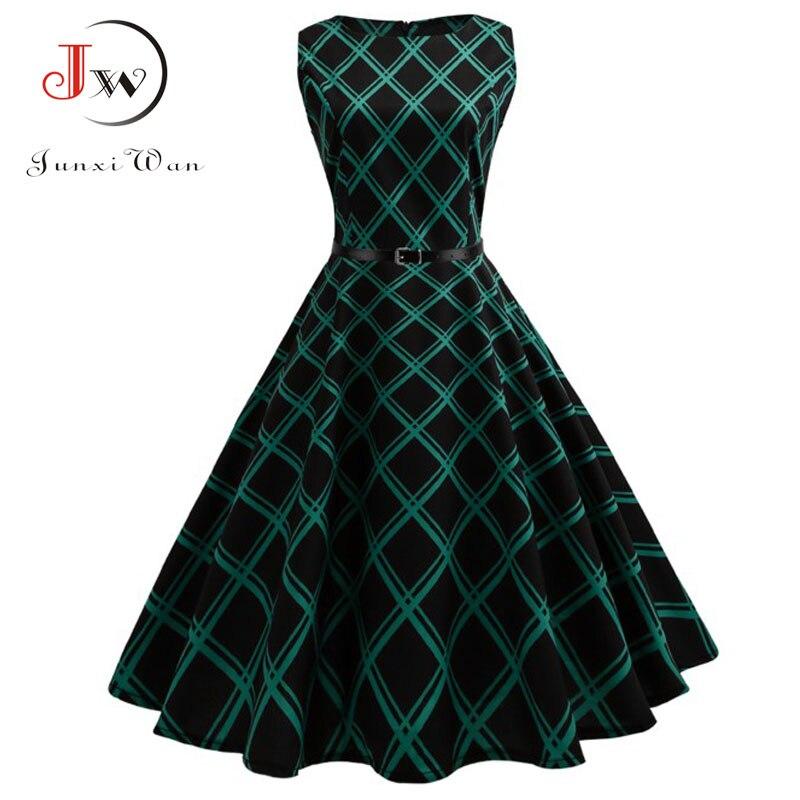 Floral Print Frauen Sommer Kleid Hepburn 50 s 60 s Retro Schaukel Vintage Kleid A-Line Party Kleider Mit Gürtel jurken plus Größe