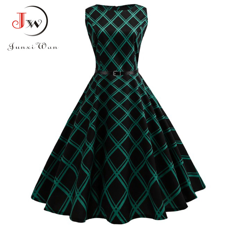 Floral Print Women Summer Dress Hepburn 50s 60s Retro Swing Vintage Dress A-Line Party Dresses With Belt Jurken Plus Size