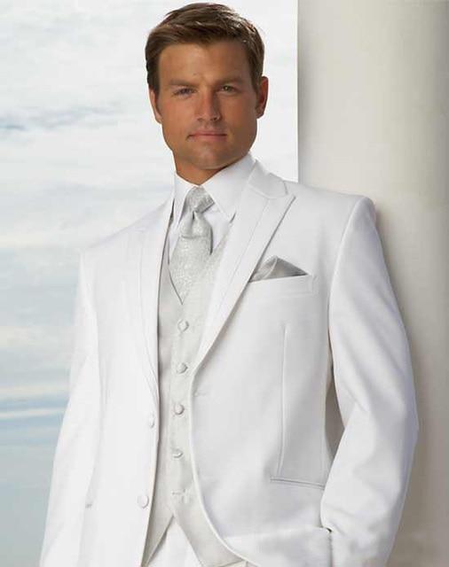 White Wedding Tuxedos For En Groom Best Man Groomsmen Suits Men Elegant Bridegroom