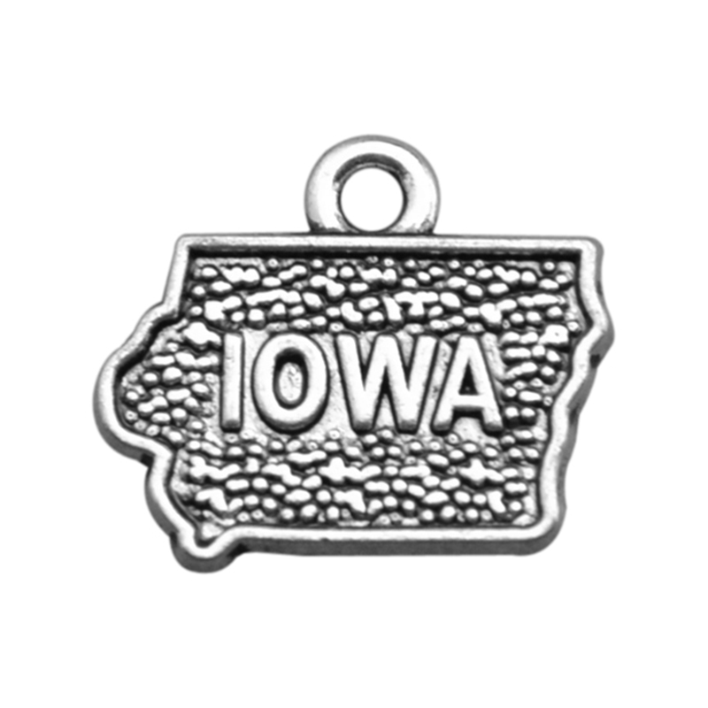 2 Style Silver Iowa State Map Dangle Charms Jewelry DIY Fit Bracelet Necklace 50PCS/Lots