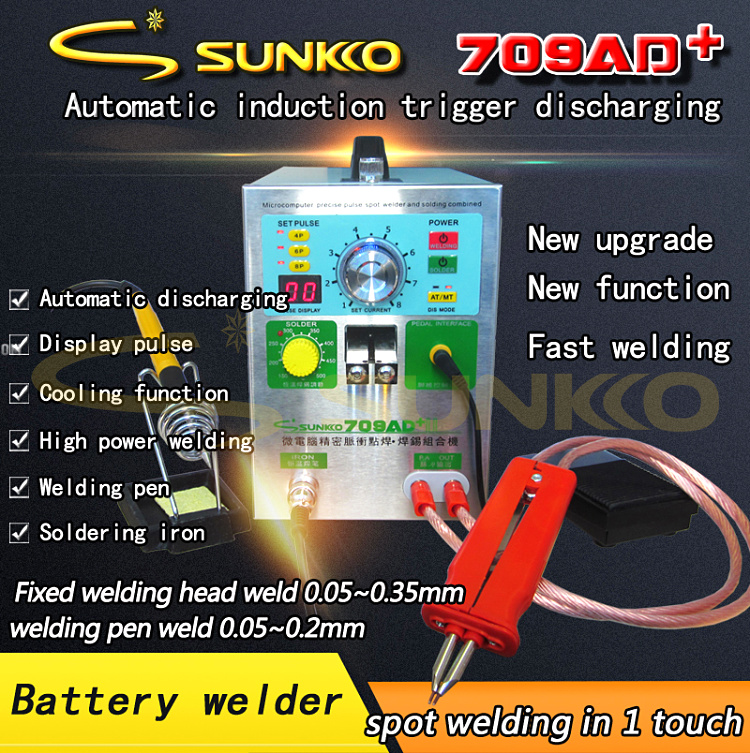 SUNKKO 709AD + 4 DANS 1 machine De Soudage fixe impulsion de soudage à souder à température constante Déclenché induction spot de soudage HB-70B