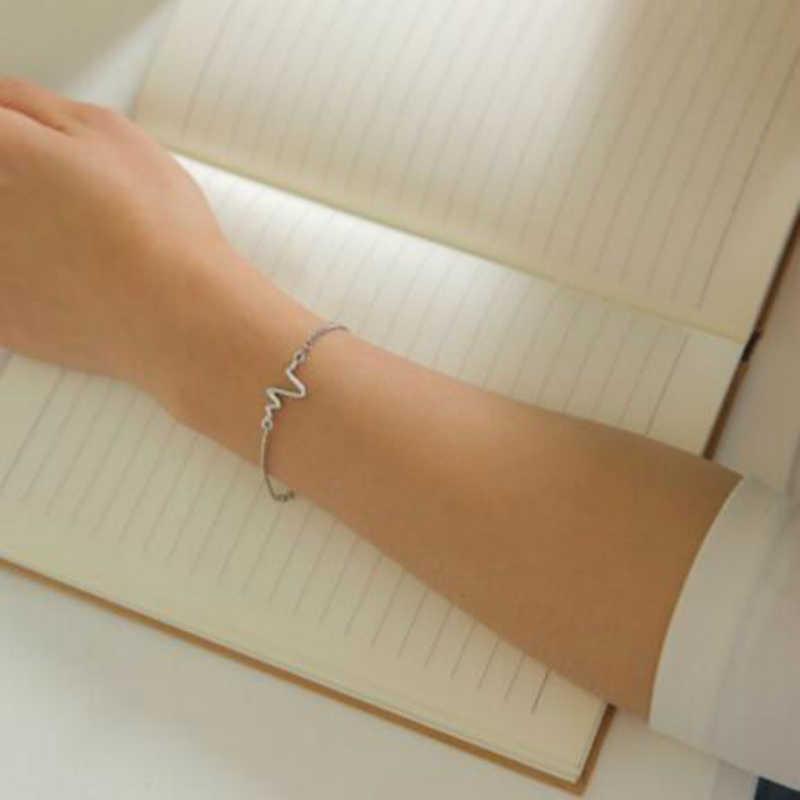 """2018 простой новый индивидуальный дизайн ЭКГ молния браслет Пара сердцебиение браслет """"Частота"""" оптовая продажа браслеты и браслеты"""