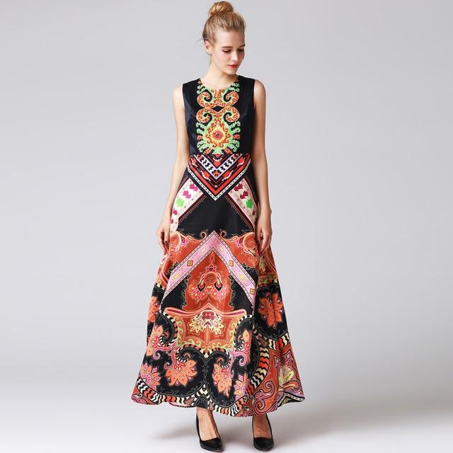 17932b32371 2018 new designer fashion runway Maxi dress Women Sleeveless pattern print  Beading high quality summer Vintage long dress