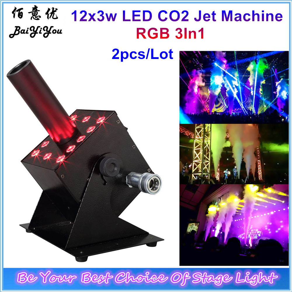 2pcs 12x3w RGB 3In1 Easy Multi Angle Small LED CO2 Jet Machine DMX Powercon 12pcs 3w