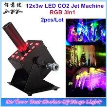 2 pcs 12x3 w RGB 3In1 קל רב זווית קטן LED CO2 Jet מכונת DMX Powercon 12 pcs 3 w DJ LED Co2 תותח עבור שלב אפקט