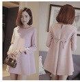 Материнство весенняя мода для беременных цельный платье осень с длинным рукавом розовый материнства платье одежды для беременных, топ с луком