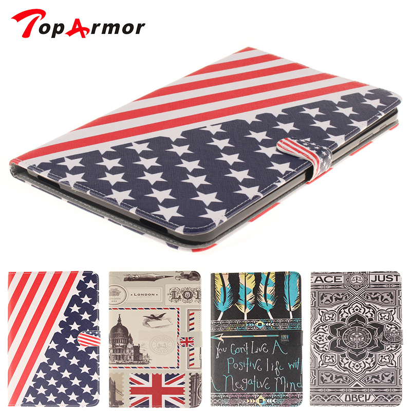 TopArmor case For Tablet Samsung Galaxy Tab A 10.1 SM-T585 SM-T580 T580 T580N 10.1 Inch Stand Folio Flip PU Leather Cover Case slim fit stand feature folio flip pu hybrid print case for lenovo tab 3 730f 730m 730x 7 inch
