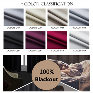 Image 4 - Flocked 100% Blackout Window Curtains Thermal Solid Curtain For Bedroom Living Room Fire Retardant Fabric Drapes