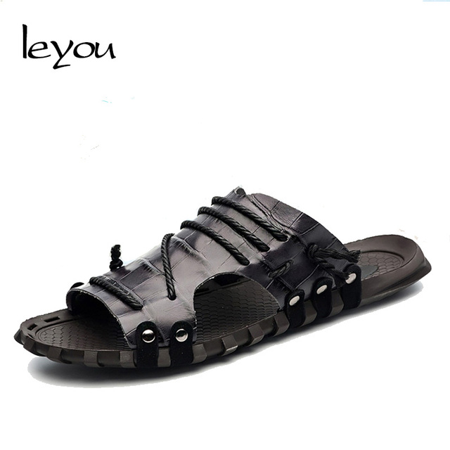 Fashion Men Summer Genuine Leather Sandals Anti-slip Beach Casual Slippers Plus Size Flip Flops Sandals Open Toe Shoes Casual