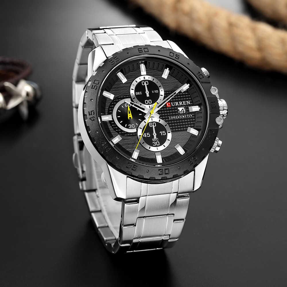 الفاخرة العلامة التجارية CURREN ساعات كوارتز كرونوغراف من الفولاذ المقاوم للصدأ ساعة اليد رياضي رجل ساعة الذكور عارضة الأعمال ساعة كوارتز