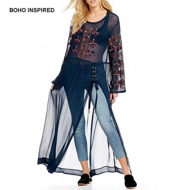 Boho Inspired Women Beach Dress Embroidered Fl Sheer Lace Up Maxi Tunic Sequined Split Side Flare