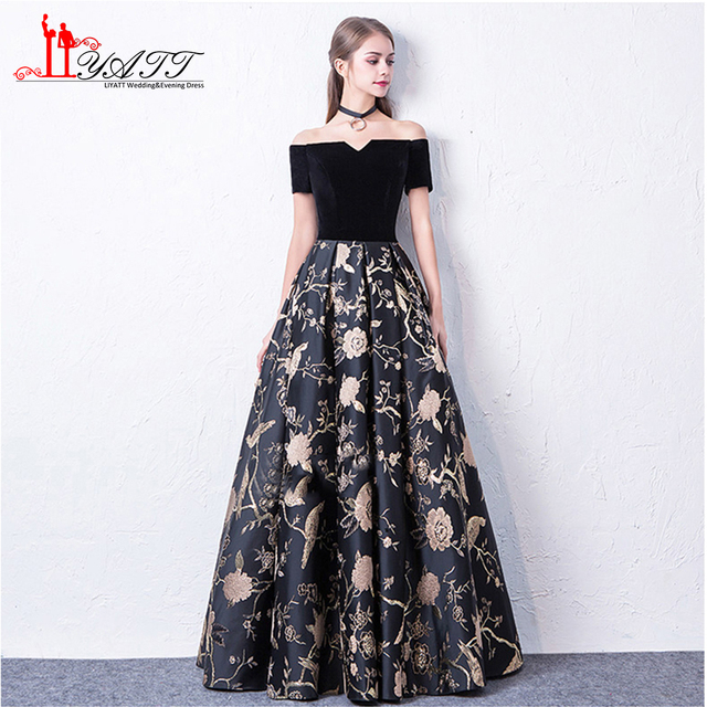 Liyatt 2018 New Fashion Formal Evening Dress Elegant Off Shoulder Black Velvet Top Lace Skirt Long