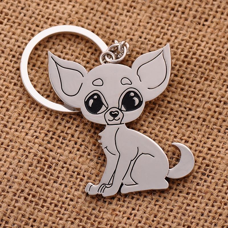 Chihuahua keychain cute key ring puppy dog key chain key holder creative sleutelhanger portachiavi chaveiro llaveros hombre